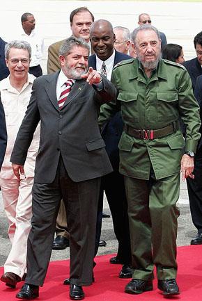 Президент Кубы Фидель Кастро и президент Бразилии Луис Силва. Гавана, 18.09.2005