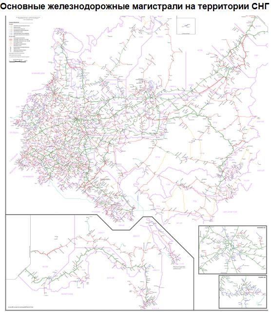 Основные железнодорожные магистрали на территории СНГ