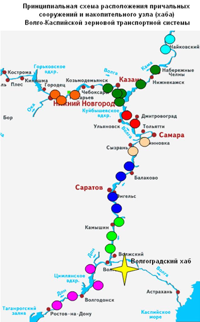 Принципиальная схема расположения причальных сооружений и накопительного узла (хаба) Волго-Каспийской зерновой транспортной системы