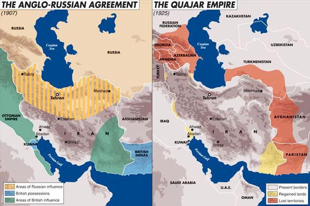 Англо-Русское соглашение 1907 г. о разделе сфер влияния в Персии. Персидская империя Каджаров в 1925 г.