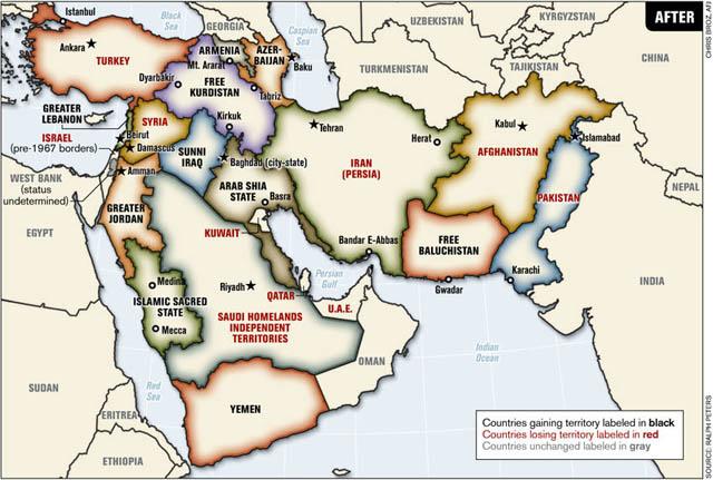 """КАРТА: Ральфа Петерса. Большой Средний Восток со """"справедливыми границами"""""""