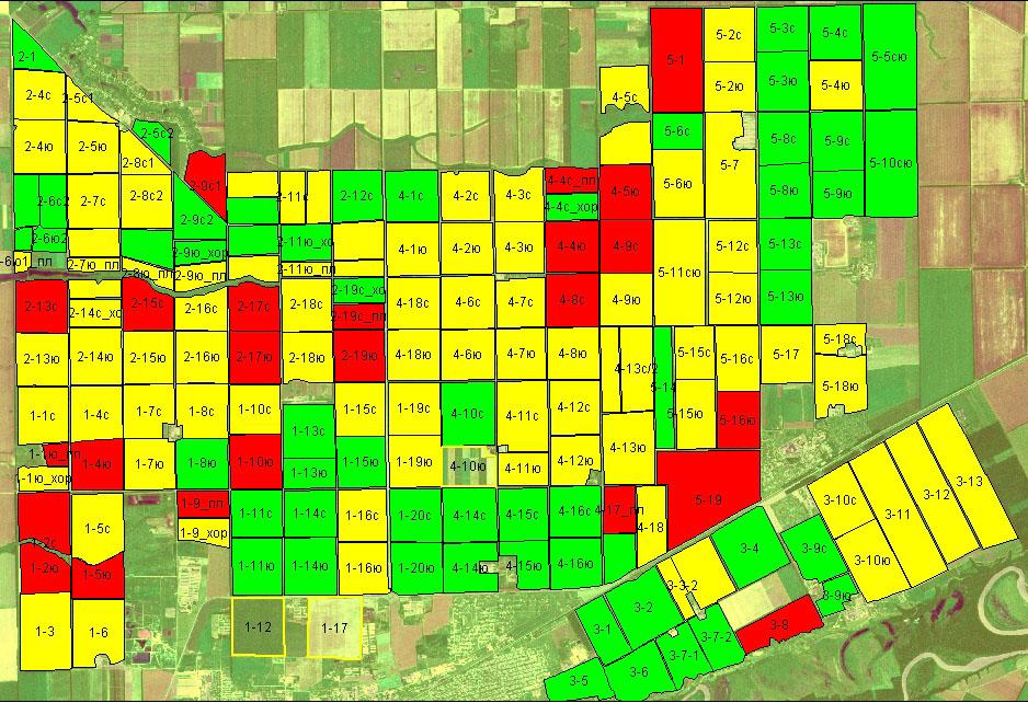 Пример классификации полей: Группировка полей для «влажного» года