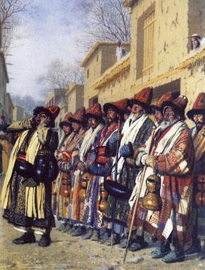 КАРТИНА: Верещагин В.В. Хор дервишей, просящих милостыню. Ташкент (1870)