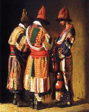 КАРТИНА: Верещагин В.В. Дервиши в праздничных нарядах. Ташкент. (1870).