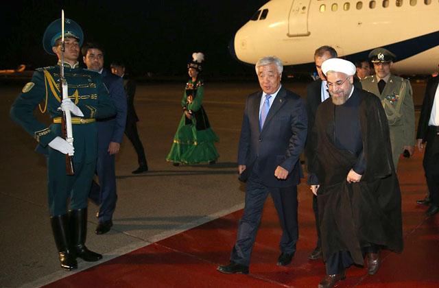 Президент Исламской Республики Иран Хасана Рухани прибыл в Астану, 8 сентября 2014 г., визит в Астану и Душанбе на саммит ШОС продлится 4 дня