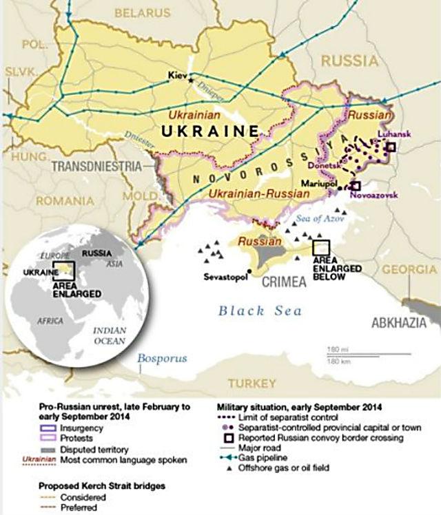 Мапа Новоросії за станом на 08.09.2014, (с) National Geographic & Google maps