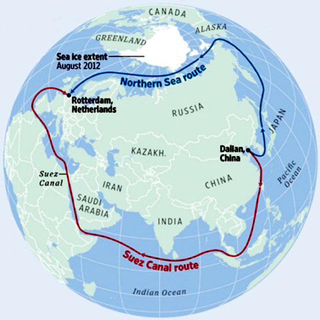 СХЕМА 2. Сравнение маршрутов транспортировки грузов из Даляня (Китай) в Роттердам через Северный морской путь и Суэцкий канал