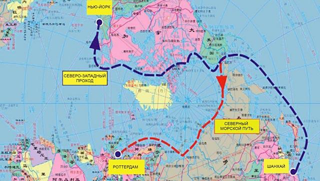 СХЕМА: Арктические маршруты из Китая.