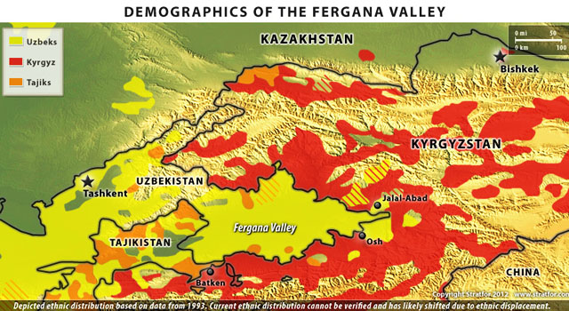 MAP: Demographics of the Fergana Valley. Карта. Этнический состав населения Ферганской долины