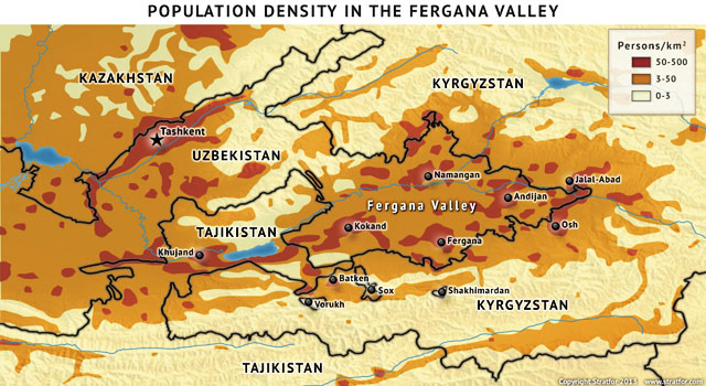 MAP: The Fergana Valley population density. Карта. Плотность населения Ферганской долины.