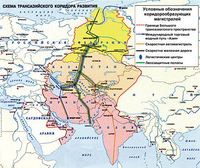 Трансазийский коридор развития из российской Арктики в Индию, Иран и Арабские страны, разработка Д.М. Рыскулова