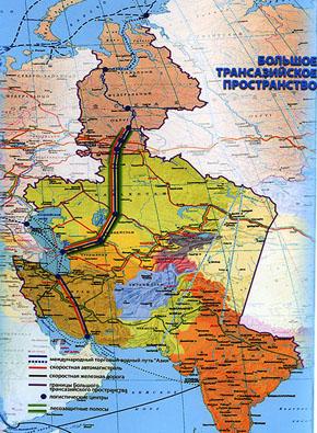 КАРТА: Трансазийский коридор развития «ТРАЗКОР» из российской Арктики в Индию, Иран и Арабские страны, разработка Д.М. Рыскулова.