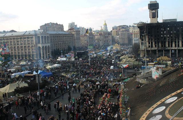 Майдан Незалежности после боёв в феврале 2014 года, г. Киев