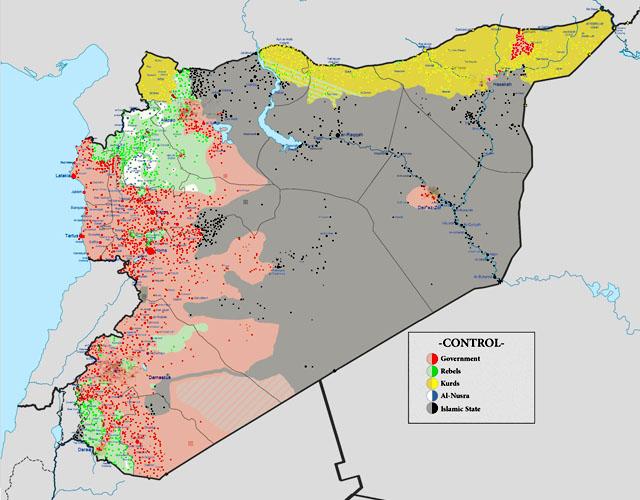 Линия фронтов в Сирии в июле-августе 2015 года