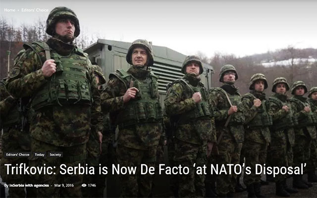InSerbia Network Foundation. Trifkovic: Serbia is Now De Facto 'at NATO's Disposal'