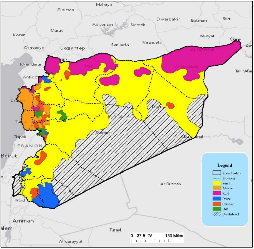 РИСУНОК 1: Распределение Этнорелигиозных групп Сирии