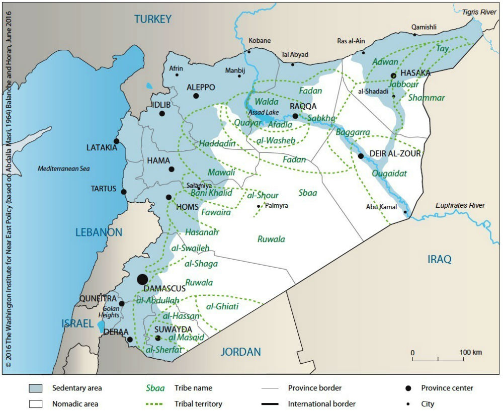 РИСУНОК 2. Распределение основных кланов и племен Сирии